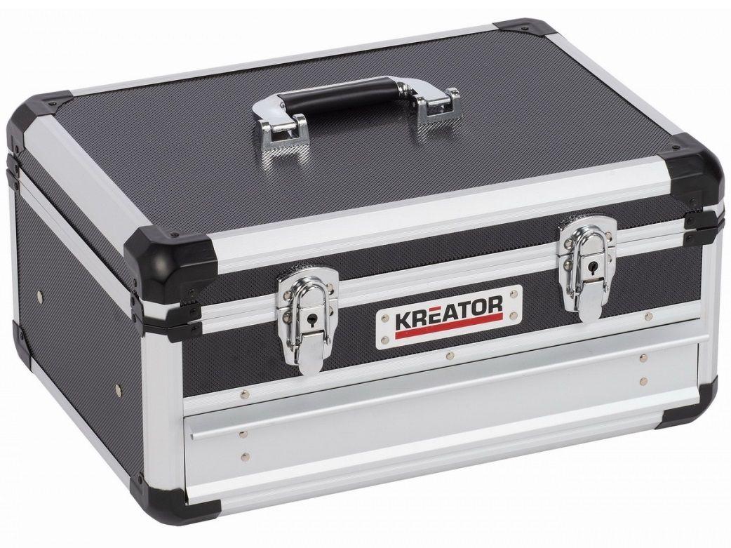 Organizér - Hliníkový kufr se zásuvkou na nářadí KREATOR KRT640601B - 430x300x205mm, 4.42kg, černý
