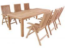 Garland Flores 6+ sestava nábytku z teakového dřeva (6x pol. křeslo Aston + 1x stůl Oceana)