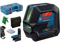 Křížový laser Bosch GCL 2-50 G Professional - 4x AA, 15m, držák, stropní úchyt, cíl. destička, kufr