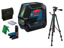Křížový laser se stativem Bosch GCL 2-50 G Professional - 4x AA, 15m, otočný držák, cíl. destička