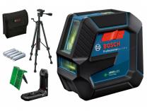 Křížový laser se stativem Bosch GLL 2-15 G Professional - 4x AA, 15m, držák, cílová destička, taška