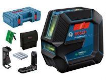 Křížový laser Bosch GLL 2-15 G Professional - 4x AA, 15m, držák, stropní úchyt, cíl. destička, kufr