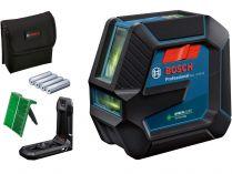 Křížový laser Bosch GLL 2-15 G Professional - 4x AA, 15m, držák, cílová destička, taška