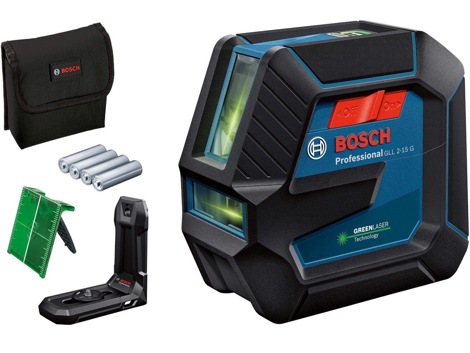 Bosch GLL 2-15 G Professional Křížový laser - 4x AA, 15m, držák, cílová destička, taška (0601063W00) Bosch PROFI