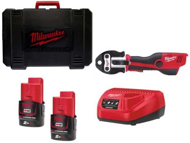 Aku hydraulický lis Milwaukee M12 HPT-202C - 2x aku 12V/2.0Ah, 1.8kg v kufru (4933443085)