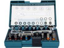 """21-dílná sada nástrčkových klíčů a bitů s ráčnou Makita B-54081 - 1/4"""""""
