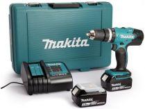 Makita DHP453SFE - 2x 18V/3.0Ah, 42Nm, 2 rychl., 2kg, kufr, aku vrtačka s příklepem