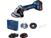 Bosch GWS 180-LI Professional - 2x 18V/4.0Ah, 125mm, 1,6kg, kufr, bezuhlíková aku úhlová bruska