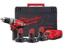 Milwaukee M12 CPD-403X - 3x 12V/4.0Ah, 44Nm, 2rychl., 1.5kg, kufr, BL aku vrtačka s příklepem