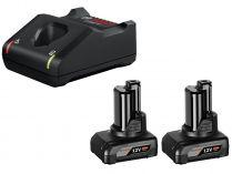 Bosch Startovací sada: 2× aku GBA 12V/6.0Ah + GAL 12V-40 Professional