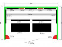 Infrasauna Belatrix Vista V pro 5 osob - 200 x 120 x 190 cm, Kanadský jedlovec, plně spektrální + karbonové zářiče (KD-V005)