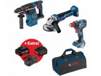 Sada aku nářadí Bosch Professional: GDX 18V-200 C + GBH 18V-26 + GWS 18V-10 + GAL 1880 CV + 2x aku