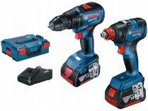 Sada aku nářadí Bosch Professional: GSR 18V-50 + GDX 18V-200 + 2x aku 18V/4.0Ah + kufr L-BOXX 136
