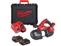 Milwaukee M18 FBS85-202C - 2x 18V/2.0Ah, 85mm, 3.9kg, kufr, bezuhlíková aku pásová pila