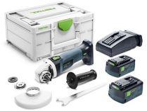 Festool AGC 18-125 5,2 EB-Plus - 2x 18V/5.2Ah, 125mm, kufr Systainer³, bezuhlíková aku úhlová bruska