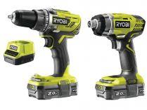 Sada aku nářadí Ryobi R18DDID-220S: R18DD3 + RID1801 + 2x aku 18V/2.0Ah + nabíječka