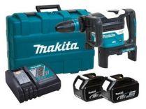Bezuhlíkové kombi aku kladivo Makita DHR400T2UN - 2x 18V/5.0Ah, 8J, SDS-Max, AWS, 7.9kg, kufr