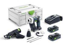 Festool DWC 18-4500 HPC 4,0 I-Plus - 2x 18V/4.0Ah, Systainer³, bezuhl. aku šroubovák se zásobníkem
