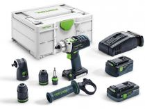 Festool QUADRIVE PDC 18/4 5,2/4,0 I-Set/XL-SCA - 2x18V/5.2+4,0Ah, 60Nm, 2kg, kufr