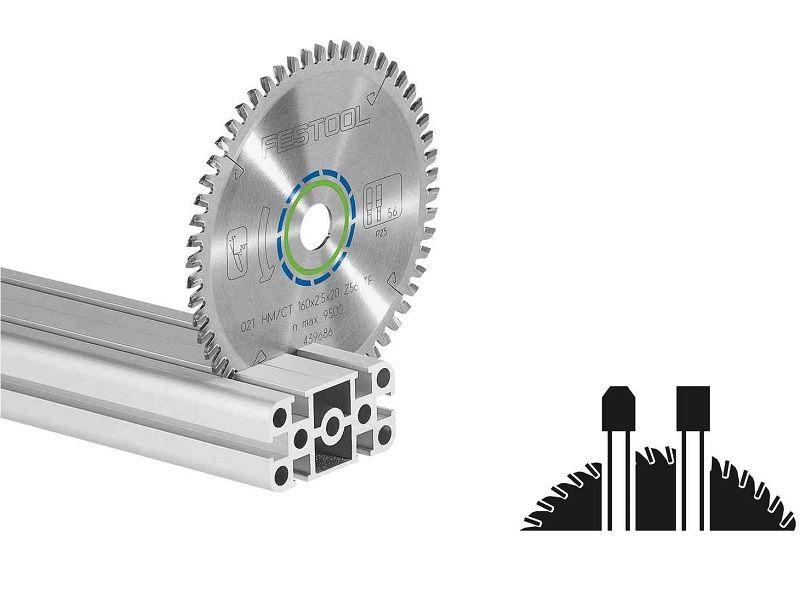 Pilový kotouč na hliníkové desky a profily a dále tvrdé plasty a plasty vyztužené vlákny pro pily Festool TS 55, TSC 55, ATF 55 a AP 55 (Festool HW 160x2,2x20 TF52) - 160x2.2x20mm, 52 zubů, kód: 496306