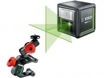 Křížový laser Bosch Quigo green - 500-540nm, 0.27kg, spona, adaptér