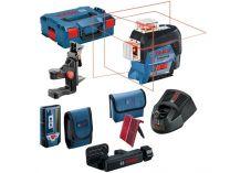 Křížový laser Bosch GLL 3-80 C Professional - 1x 12V/2.0Ah, 30m, cílová destička, taška, držák, kufr