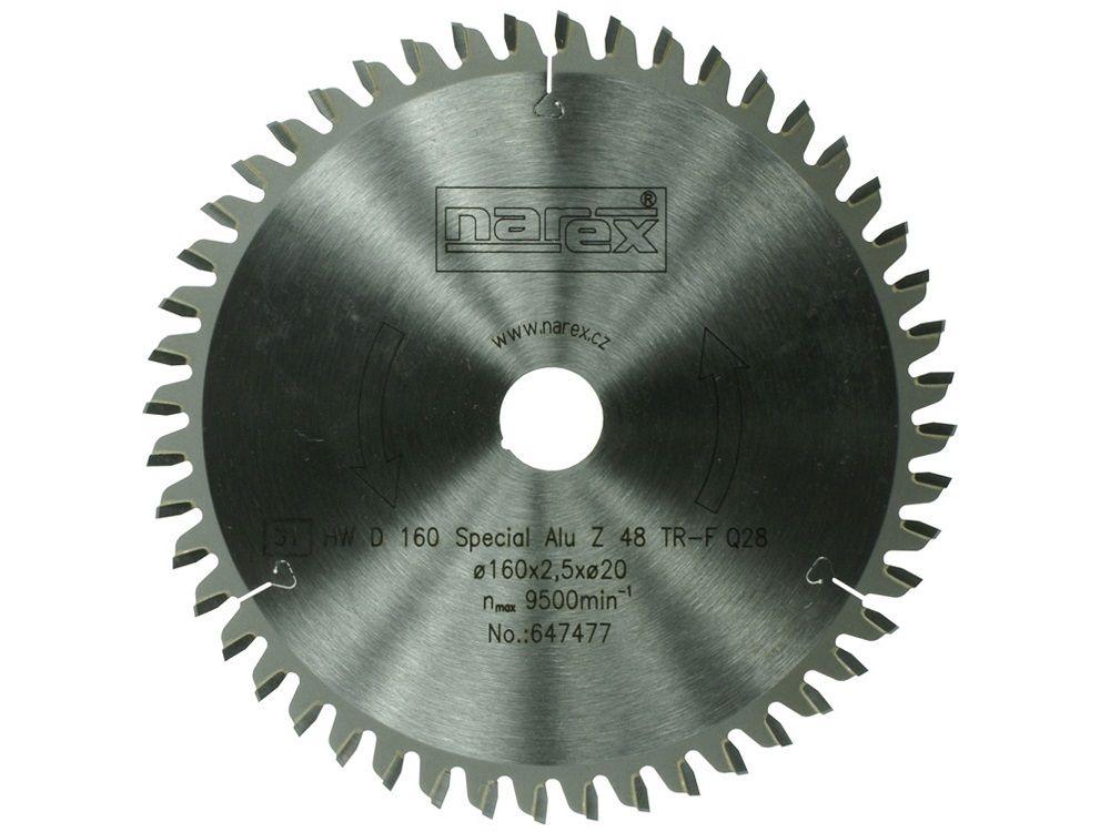 Pilový kotouč na hliník, laminované a dýhované dřevotřískové desky Narex 160×2.2×20 52TFZ - 160x2.2x20mm, 52 zubů (00647477)