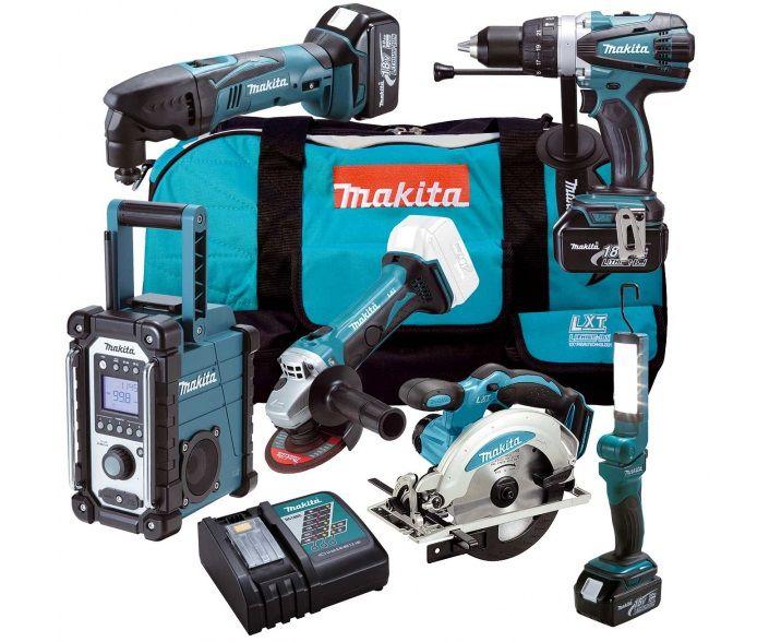 Makita DLX6008: 6-dílná sada aku nářadí 18V: DHP458Z + DTM50Z + DGA452Z + DSS610Z + BMR102 + BML801 + taška + 3x aku