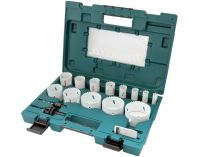 16-dílná sada BiM vrtacích korunek - děrovek Makita D-63993 - 16-68mm, pružina, adaptéry 9.5 a 11mm