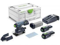 Bezuhlíková aku vibrační bruska Festool RTSC 400 Li 3,1 I-Plus - 2x 18V/3.1Ah, 80x130mm, 1.4kg, kufr