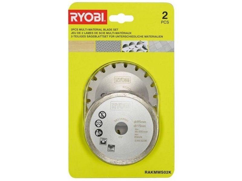 2x Pilový kotouč na dřevo, hliník, plast, obklady a další Ryobi RAKMMS02K - 85mm (5132004662)