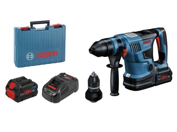 Bezuhlíkové kombi aku kladivo Bosch GBH 18V-34 CF BiTurbo Professional - 2x aku 18V/8.0Ah, SDS-Plus, 5.8J, 4.9kg, kufr (061191402C) Bosch PROFI