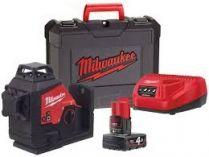 Křížový laser Milwaukee M12 3PL-401C - 1x 12V4.0Ah, 38m, cílová destička, kufr