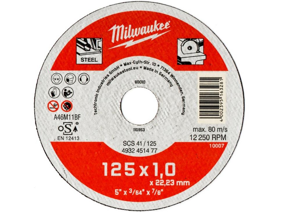 Řezný kotouč Milwaukee A46M11BF SCS 41/125 pr. 125mm/1,0 na ocel, HARDOX, legované oceli (4932451477)