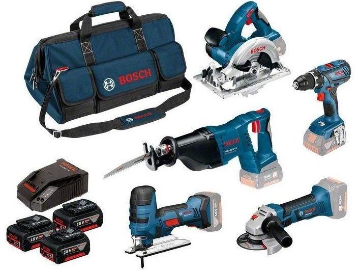 Sada aku nářadí Bosch 5Tool Kit 18V Professional (0615990K6N): GSR 18V-28 + GWS 18-125 V-LI + GSA 18 V-LI + GKS 18V-LI + GST 18V-LI S + 3× 18V 4.0Ah + GAL 1860CV + brašna na nářadí Bosch PROFI