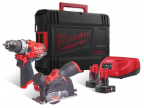 Sada aku nářadí Milwaukee M12FPP2F-402X: M12FPD + M12FCOT + 2x 12V/4.0Ah + kufr