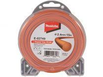 Struna nylonová Plus pro aku stroje Makita (Makita E-02749) - ø2.4mm, 15m, oranžová, kulatá