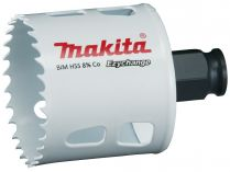 """Vrtací korunka - děrovka na dřevo, plast, hliník, neželezné kovy, ocel a nerezový plech Makita E-03844 - pr. 54 mm, BiM Ezychange, upínání 1/4"""" šestihran nebo SDS-Plus"""