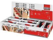 64-dílná sada - displej svěrek BESSEY LM-BOX - 24x LM15-5, 24x LM20/5, 16x LM25/5