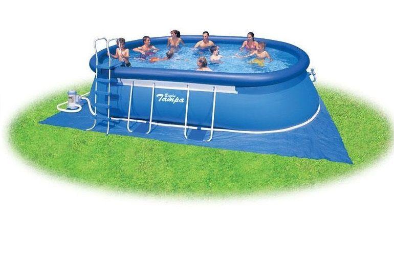 Bazén Tampa ovál 3,05x5,49x1,07 m s kartušovou filtrací + chemický set + krycí plachta + síťka