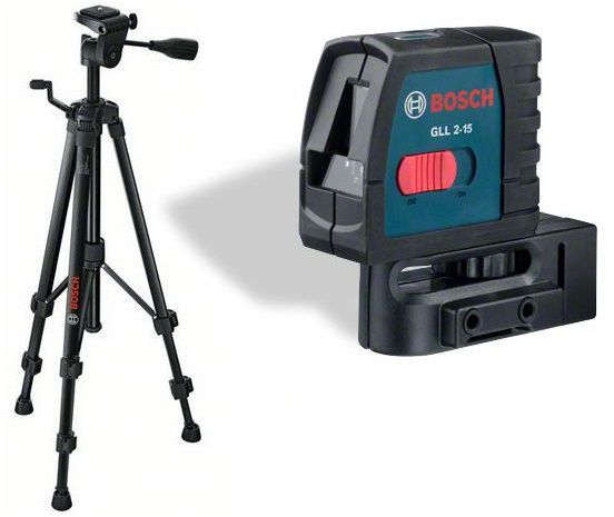 Křížový čárový laser Bosch GLL 2-15 Professional + hliníkový stavební stativ BT 150 Professional (061599404T)