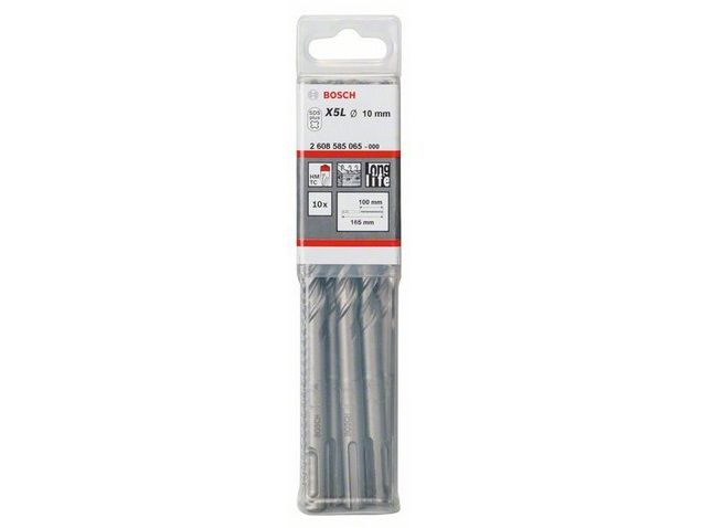 Sada 10ks pětibřitých vrtáků SDS-plus-7 do betonu Bosch 10 x 100 / 165 mm (2 608 585 065)