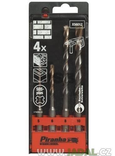 4 dílná sada vrtáků do kladiv SDS-Plus BLACK-DECKER X56012, 5-10 mm