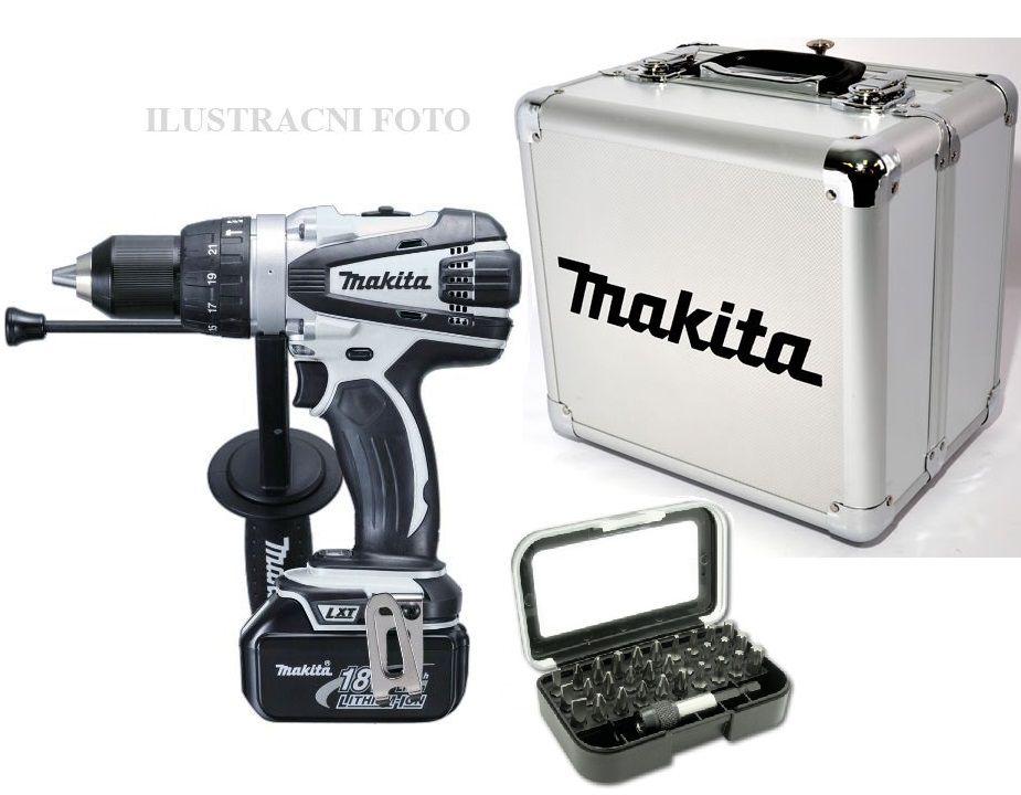 Aku vrtačka s příklepem Makita DHP458RMWX, 2x aku 18V/4.0Ah + sada bitů D-30667 + hliníkový kufr