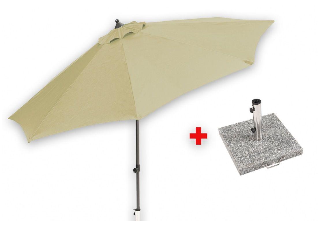 Středový slunečník 2,7 m (béžový) + žulový podstavec Garland - Set Venice, kód: MYA-010-beige_set