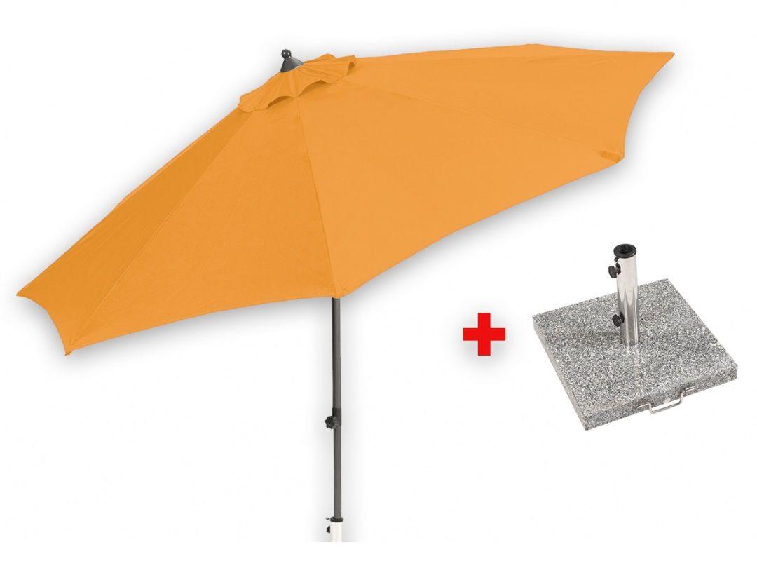 Středový slunečník 2,7 m (oranžový) + žulový podstavec Garland - Set Venice, kód: MYA-010-orange_set