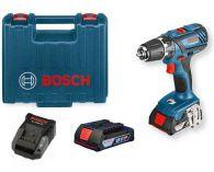Bosch GSR 18-2-LI Plus Professional - 2x 18V/2.0Ah, 63Nm, 2 rychl., 1.49kg, kufr, aku vrtačka bez příkl.