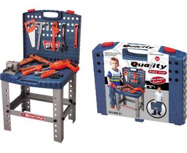 Hrací set G21 Dětský kufřík s nářadím a pracovní stůl
