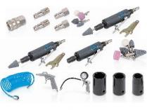 Pneumatický rázový utahovák + přímá bruska set 25 ks PowerPlus POWAIR0021 - 310Nm, 7.000ot/min