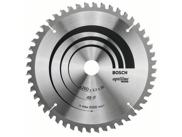 Pilový kotouč na dřevo pro pokosové pily Bosch Optiline Wood 260x30x3.2mm, 48 zubů ATB/N